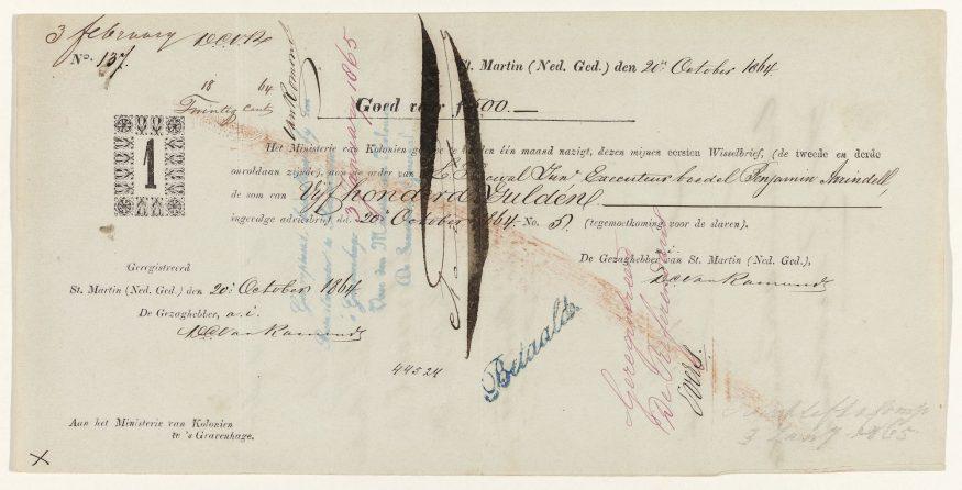 Wisselbrief-schadeloosstelling-afschaffing-slavernij-1863-in-Sint-Maarten252c-Ministerie-van-Koloniën252c-1863-Collectie-Rijksmuseum