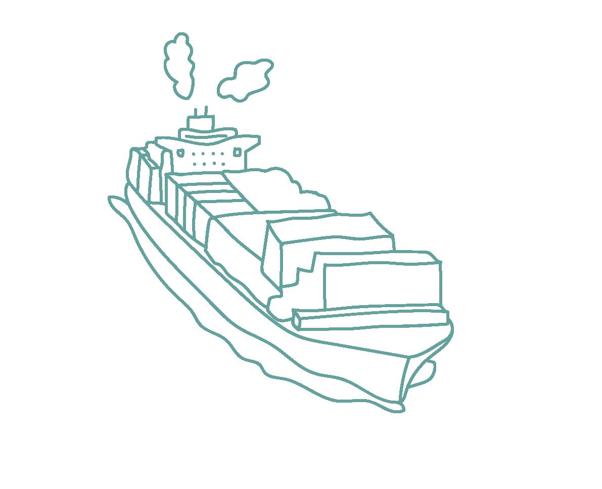 Illustraties Carmen blauwgroen_containerschip
